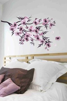 Watercolor Flowers Removable Wall Decal Set