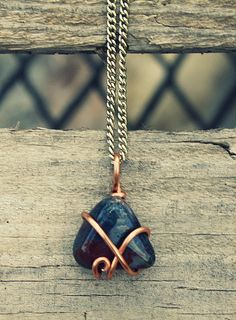 Bloodstone Copper Wrap Necklace by FatherSunMotherMoon on Etsy, $12.00