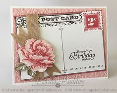 Happy Birthday - Postage Due & Stippled Blossoms Altenew Cards, Stampin Up Cards, Birthday Cards, Happy Birthday, Birthday Images, Birthday Quotes, Birthday Greetings, Birthday Wishes, Hand Stamped Cards