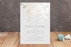 """Elegance Illustrated"" - Floral & Botanical Foil-pressed Bridal Shower Invitations in Rose Gold by Phrosne Ras."
