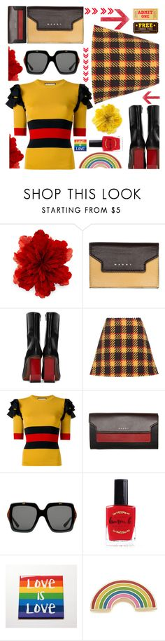 """""""Freedom to choose who you love.  Pride=Freedom"""" by sunnydays4everkh ❤ liked on Polyvore featuring Gucci, Marni, Vetements, Lauren B. Beauty, Georgia Perry and pride"""
