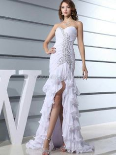 Trumpet/Mermaid Sweetheart Chiffon Sweep Train Tiered Prom Dresses