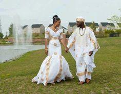 Nigerian Couple in their Beautiful Wedding Attire ! African Wedding Attire, African Attire, African Wear, African Fashion Dresses, African Women, African Dress, African Clothes, African Traditional Wedding, Traditional Wedding Dresses