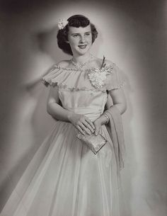 1940s full-length portrait of a young woman wearing a formal gown, photo by Strands Studio of Rugby, North Dakota by thstrand, via Flickr