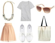 Gray Tee + Crystal Statement Necklace + Nude Pink Tulle A-line Skirt + White Sneakers + Canvas Tote