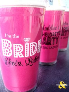 Bachelorette Party Cups, Personalized and I'm the Bride Cup, Cheers Ladies, disposable on Etsy, $8.10