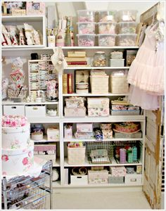 craft room shelving - I like some of the storage boxes - some of it looks cluttered for my taste