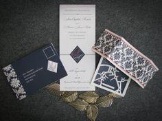 CUSTOM PRINTABLE 'Style Français' Wedding Stationery Set - Navy, Coral & Cream