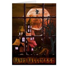 Funny Black Cat and Old House Halloween Card - cat cats kitten kitty pet love pussy
