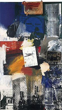 "Robert Rauschenberg's Untitled ""combine"" 1963, mixed media. This artist lived and worked in Florida until he died in 2008. He liked to work in monochrome and mix materials and objects, hence the title of 'Combines'...a series of works he created. Some of his work is considered Pop Art, but he is categorized as a Neo-Dadaist."