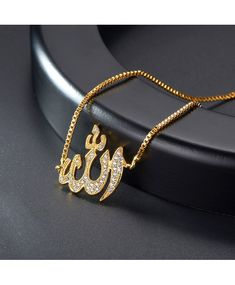 Buy Allah Bracelet Cubic Zirconia Adjustable Chain Muslim Jewelry Gold /Platinum Plated Charm Bracelet - and Find Large Selection of Designer Jewelry at Best Prices Cute Jewelry, Gold Jewelry, Jewellery, Muslim Images, Arabic Jewelry, Islam Women, Islamic Girl, Gold Platinum, Chor