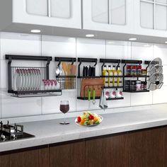 10 Lovely Kitchen Rack Design Ideas For Smart Mother Adorable 10 Lovely Kitchen Rack Design Ideas Fo Kitchen Rack Design, Kitchen Wall Rack, Kitchen Shelves, Kitchen Storage, Kitchen Organization, Home Decor Kitchen, Diy Kitchen, Space Kitchen, Kitchen Interior