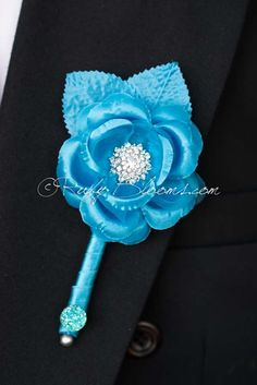 Turquoise Blue Flower Wedding Boutonniere  #wedding #tuxedo #groom #prom #groompin #broochpin #lapel #boutonniere #bestman #weddinginspiration #bridal #weddings #crystalbrooch #peacockfeather #groomsman #weddings #weddingidea #inspiration #somethingblue #sandiego #turquoise #bluewedding #newyorkwedding #californiawedding #rusticwedding #luxurywedding #woodlandwedding #vintagewedding #countrywedding #destinationwedding #sandiegowedding #fashion