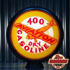 "SHELL 400 Dry Aviation Gasoline - 15"" Gas Globe Lenses -  Made by Pogo's Garage"