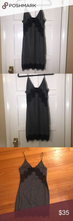 NWT!! TOPSHOP Dress NWT!! TOPSHOP Dress. US size 6, EUR 38, UK 10. (I typically wear around US size 2 and this fits) very comfortable material. Olive green somewhat heathered base with black lace detail, spaghetti straps. Topshop Dresses Mini