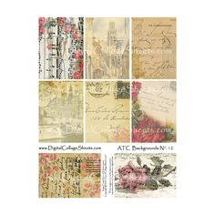 ATC Backgrounds #12 - Altered Floral Backgrounds ($3.75) ❤ liked on Polyvore