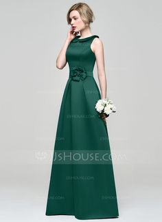 A-Line/Princess Scoop Neck Floor-Length Flower(s) Zipper Up Regular Straps Sleeveless No Other Colors Spring Summer Fall General Plus Satin Bridesmaid Dress Gala Dresses, Cute Dresses, Evening Dresses, Satin Bridesmaid Dresses, Satin Dresses, Vestidos Fashion, Fashion Dresses, Wedding Party Dresses, Special Occasion Dresses