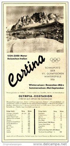 Original-Werbung/ Anzeige 1956 - CORTINA / OLYMPISCHE WINTERSPIELE - ca. 110 x 230 mm