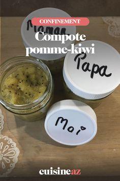 La compote pomme-kiwi est un dessert facile à préparer en temps de confinement.  #recette#cuisine#compote #fruit #pomme #kiwi#confinement #coronavirus #covid19 Compote Pomme Kiwi, Baking Ingredients, Cookie Dough, Cookies, Fruit, Table, Food, Easy Desert, Dessert Recipes