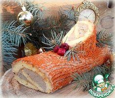 """Закусочное рождественское """"полено"""" с печеночным кремом"""