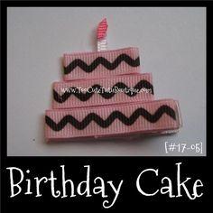 BIRTHDAY CAKE girls hair clippie [#17-04] | TooCuteTutuBoutique - Children's on ArtFire