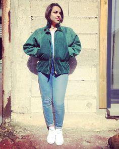 80s Vintage velvet green mid-season jacket de la boutique JoliParisRetro sur Etsy