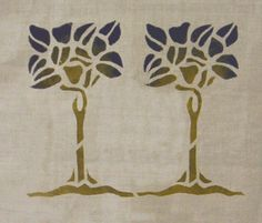 Tree Stencil (B): Shown in blue with pear stippled in to the leaves. We hand embroider an outline around these designs for our pillows, but so many people asked for them as stencils, we're showing them now! $45.00