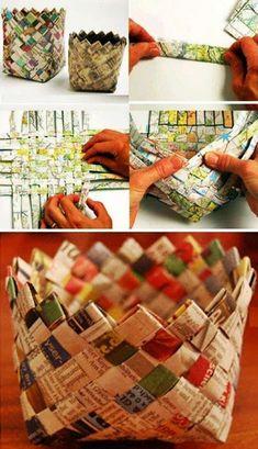 Azt mondják, a papírfonást csak meg kell próbálni, és utána az ember már abba Diy Crafts Vases, Recycled Paper Crafts, Straw Crafts, Diy Straw, Newspaper Crafts, Diy Crafts To Sell, Fun Crafts, Crafts For Kids, Newspaper Basket