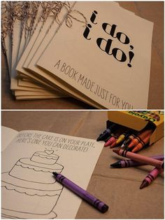 coloring books for kids' table at wedding.