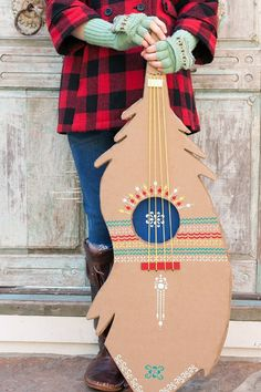 DIY Stenciled Feather Guitar