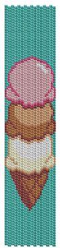 Triple Scoop Ice Cream Code 2-Drop Peyote Bracelet - Item Number 18645