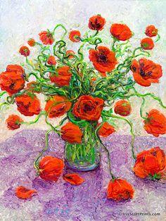 The Color Poppy by Iris Scott, finger painter. Now on Etsy!