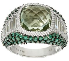 Judith Ripka - Sterling green mint quartz ring
