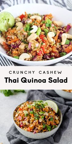 Delicious vegan and easily gluten free Thai quinoa salad with a perfect crunch. Perfect for meal prep lunches, picnics or parties. This salad is a crowd-pleaser! #veganrecipe #veganfood #thaifood #vegetarian #plantbased #healthylunch #lunchideas #mealprep #mealprepping #glutenfree #glutenfreerecipes