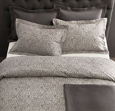 Pondering a soothing gray tone for our bedroom wall and found myself drawn to this duvet ...