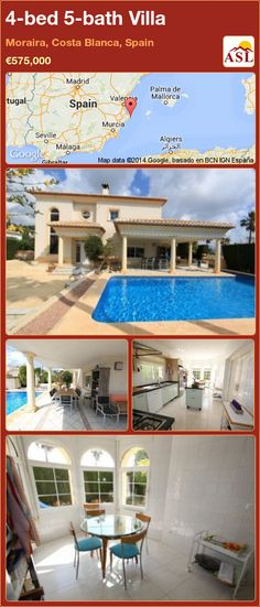 4-bed 5-bath Villa in Moraira, Costa Blanca, Spain ►€575,000 #PropertyForSaleInSpain