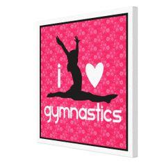 Emma's Room - I Heart Gymnastics Canvas Print Gymnastics Crafts, Gymnastics Bedroom, Gymnastics Stuff, Gymnastics Girls, Frozen Bedroom, Tumbling Gymnastics, Room Stuff, Girl Rooms, Birthday List