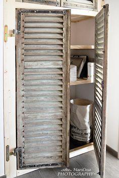 D co et recyclage de vieux volets et persiennes en bois pallet re use wood pinterest - Badkamer recup ...