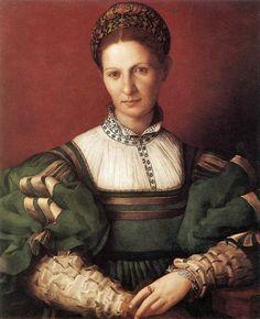Angnolo Bronzino, Agnolo di Cosimo, (Italian Mannerist artist, 1503-1572)  Portrait of a Lady in Green c 1528