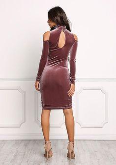 Mauve Cold Shoulder Velvet Bodycon Dress - New
