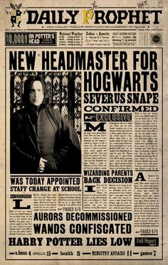 "HARRY POTTER FACTS on Twitter: ""1st September 1997: The Daily Prophet announces that Severus Snape was made Headmaster of Hogwarts. https://t.co/1bGiIKwiCs"""