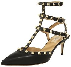 """Valentino Studded Ankle-Wrap Sandal. Shenae says:""""A girl can never have too many black slingbacks! They're such good wardrobe staples, and I never seem to run out of ways to wear them.  Passed these Valentino heels while shopping one day and immediately fell in love. Dear fashion gods– help a girl out!"""" See more at: blog.giftsimple.com"""