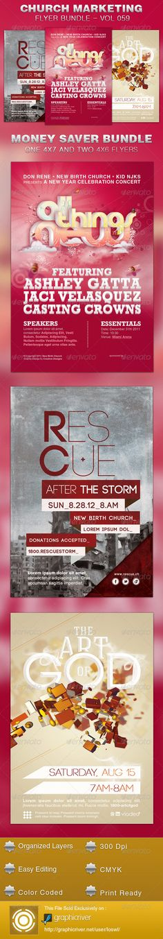Church Marketing Flyer Template Bundle Vol 059