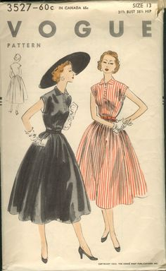 "Vogue 3527; ©1953; Unprinted Pattern. One-Piece Dress ""Easy-To-Make"" Straight all-around gathered skirt joins the sleeveless bodice at waist..."