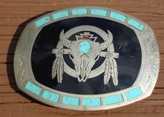 Vintage Johnson & Held Belt Buckle - Turquoise Inlay Hand Crafted - Colorado USA