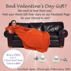 Contest Alert! Your chance to win a pair of FREE pearl stud earrings- simply submit your Worst Valentine's Day Gift Ever story to the PurePearls.com Facebook page. Contest ends February 8th!