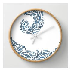 Whale Wave.  Wall Clock ($30) ❤ liked on Polyvore featuring home, home decor, clocks, wall clocks, battery operated wall clock, round clock, battery operated clock, battery wall clocks and round wall clock