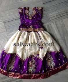 Purple White Lehenga for Kids - Indian Dresses
