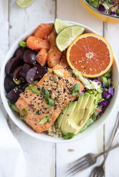 Sweet Chili Miso Salmon Salad with Freekeh, Beets and Oranges