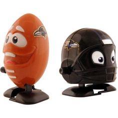 NFL Baltimore Ravens Wind-Up Football and Team Helmet, White